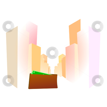 City stock vector clipart, City scape with wallet and money in foreground by Ira J Lyles Jr
