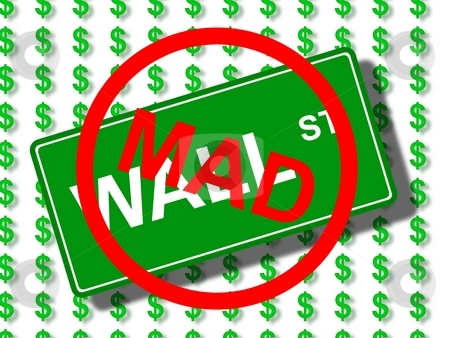 Wall Street Mad stock photo, Green wall street sign in front of dollar icons. by Henrik Lehnerer