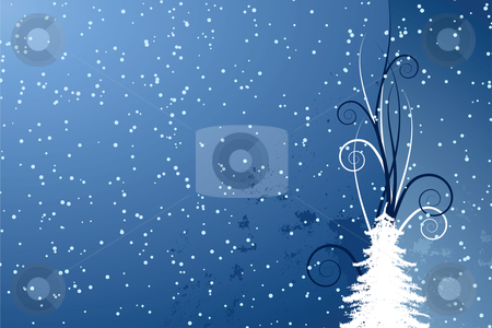 Abstract Christmas background stock vector clipart, Abstract background with Christmas tree and stars by Vadym Nechyporenko