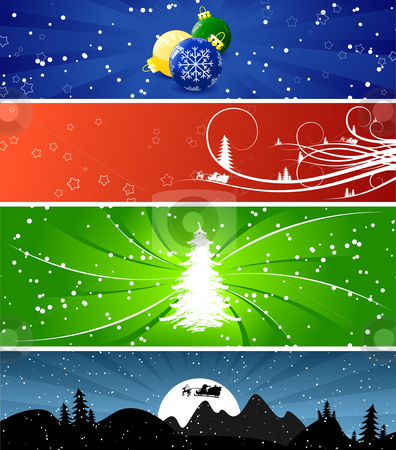 Winter Christmsa banners stock vector clipart, Four color Winter Christmsa banners with trees, snow and flakes by Vadym Nechyporenko