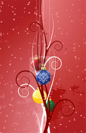 Background with Christmas toys stock vector clipart, Abstract background with Christmas toys scrolls and snow by Vadym Nechyporenko