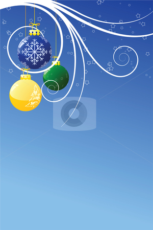 Abstract Christmas background stock vector clipart, Abstract Christmas background with toys scrolls and stars by Vadym Nechyporenko