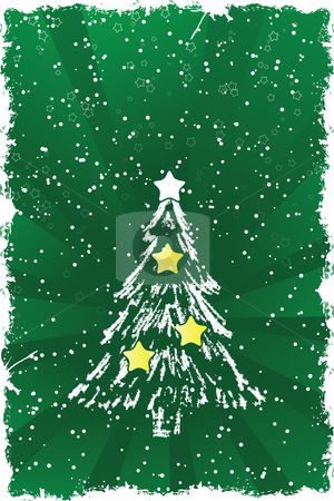 Christmas tree stock vector clipart, Abstract grunge background with Christmas tree and stars by Vadym Nechyporenko