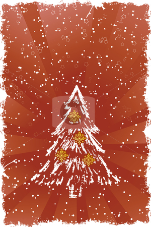 Christmas tree stock vector clipart, Abstract grunge background with Christmas tree and snowflakes by Vadym Nechyporenko