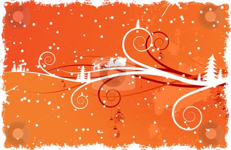Winter background with Santa stock vector clipart, Abstract winter background with Santa Christmas tree scrolls and snow by Vadym Nechyporenko