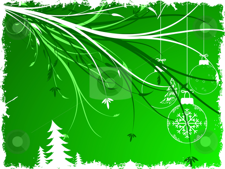 Background with Christmas toys stock vector clipart, Abstract background with Christmas toys and scrolls by Vadym Nechyporenko