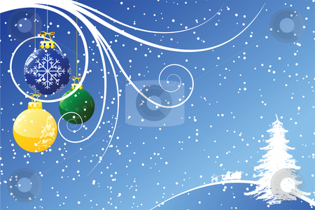 Abstract Christmas background with Santa stock vector clipart, Abstract Christmas background with toys scrolls and snow by Vadym Nechyporenko