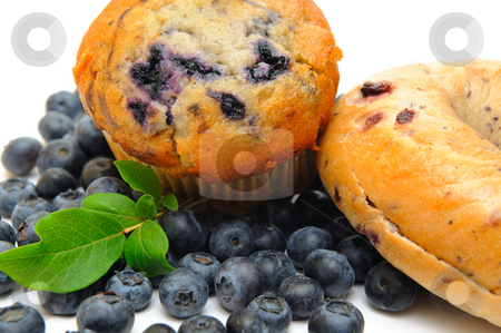 Blueberry Muffin And Bagle stock photo, Fresh blueberries surround a single blueberry muffin and a bagle on a light background by Lynn Bendickson