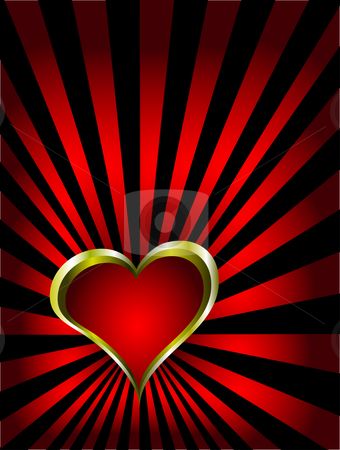A gold hearts vector valentines day background stock vector clipart, A vector valentines background with gold hearts on a deep red and black backdrop by Mike Price
