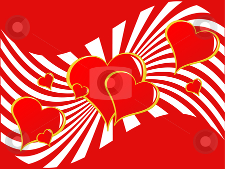 Valentines Hearts Background stock vector clipart, A valentines vector illustration with hearts on a two tone sunburst background by Mike Price