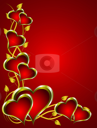 Abstract Hearts Valentines Background stock vector clipart, A vector valentines background with a series of hearts on a deep red backdrop with room for text by Mike Price