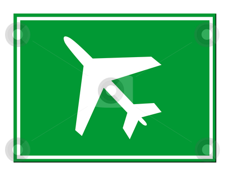 Airport sign stock photo, Green airport sign isolated on white background. by Martin Crowdy