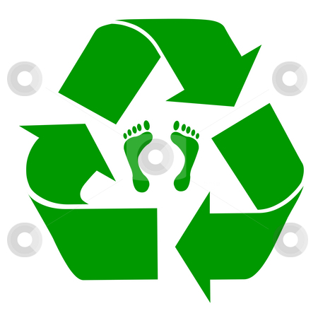Recycling footprint stock photo, Green recycling symbol with carbon footprint, isolated on white background. by Martin Crowdy