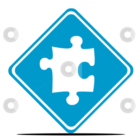 Jigsaw Piece sign stock photo, Jigsaw piece sign isolated on white background. by Martin Crowdy