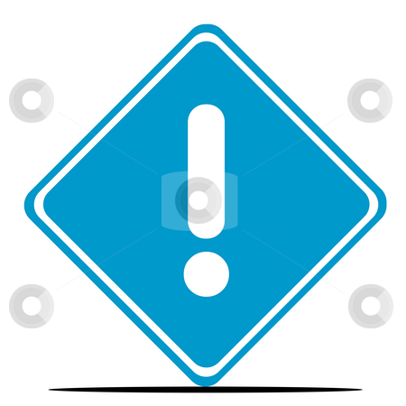 Exclamation mark sign stock photo, Blue exclamation mark diamond shaped road sign isolated on white background. by Martin Crowdy