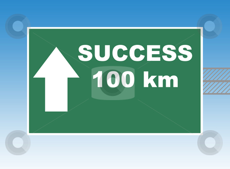 Success Highway sign stock photo, Highway or road sign pointing way to success in 100 kilometers, blue sky background. by Martin Crowdy