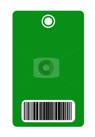 Security pass stock photo, Blank green security pass with bar code reader, isolated on white background. by Martin Crowdy