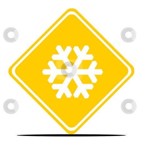Christmas snowflake stock photo, Christmas snowflake road sign isolated on white background. by Martin Crowdy