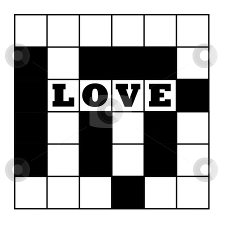 Love crossword puzzle stock photo, Blank crossword puzzle with word love, isolated on white background. by Martin Crowdy