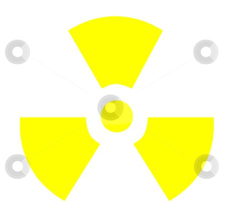 Radioactive symbol stock photo, Yellow radioactive symbol, isolated on white background. by Martin Crowdy