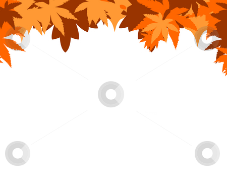 Autumnal border stock photo, Leafy Autumnal border isolated on white background. by Martin Crowdy