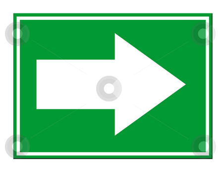 Directional arrow sign stock photo, Green directional arrow sign isolated on white background. by Martin Crowdy
