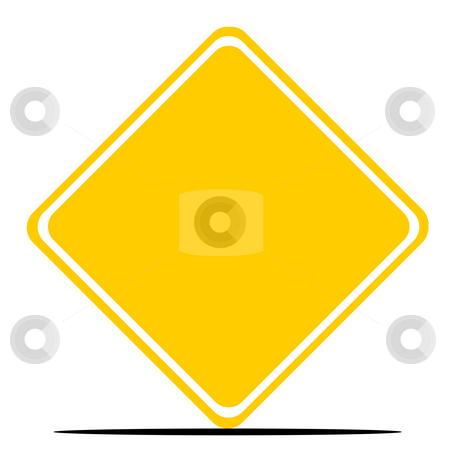 Blank yellow diamond road sign stock photo, Blank yellow diamond road sign isolated on white background. by Martin Crowdy