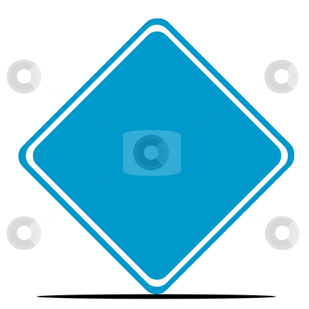 Blank blue road sign stock photo, Blank blue diamond shaped road sign isolated on white background. by Martin Crowdy