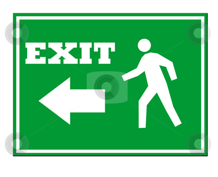Exit Sign stock photo, Green exit sign isolated on white background. by Martin Crowdy
