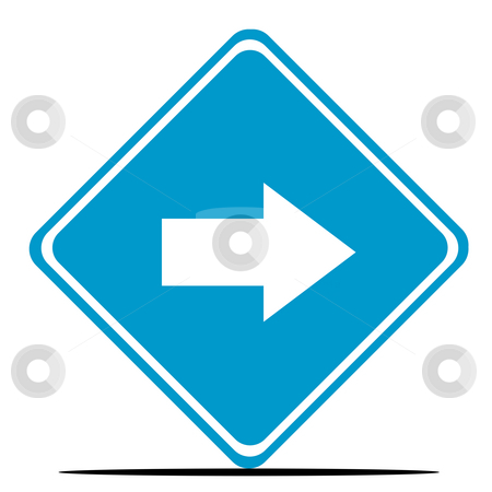 Directional traffic sign stock photo, Blue directional diamond shaped road sign isolated on white background. by Martin Crowdy