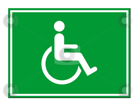 Disabled sign stock photo, Green disabled sign isolated on white background. by Martin Crowdy