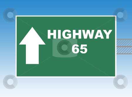 Highway 65 stock photo, Highway 65 directional road sign, blue sky background. by Martin Crowdy