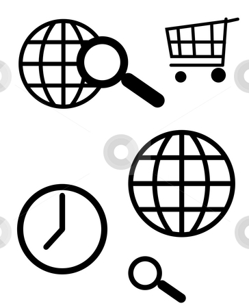Communication icons stock photo, World wide web and computer search icons, isolated on white background. by Martin Crowdy