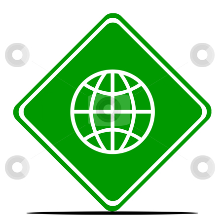 World wide web road sign stock photo, Green world wide internet web road sign isolated on white background. by Martin Crowdy