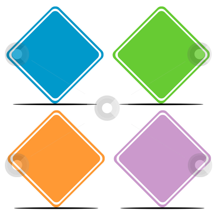 Colorful blank road signs stock photo, Cet of four colorful blank road signs with copy space. by Martin Crowdy