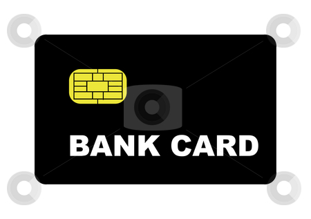 Blank Bank Card stock photo, Blank bank card with biometric strip, isolated on white background. by Martin Crowdy