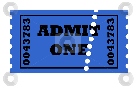 Admit One perforated ticket stock photo, Admit one perforated ticket isolated on white background with copy space. by Martin Crowdy