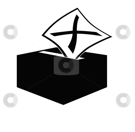 Ballot box stock photo, Voting slip marked with x being inserted into ballot box slot, isolated on white background. by Martin Crowdy