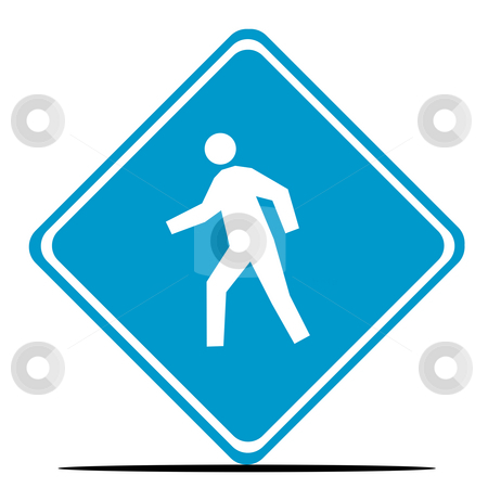 Person crossing road sign stock photo, Person crossing road sign isolated on white background. by Martin Crowdy