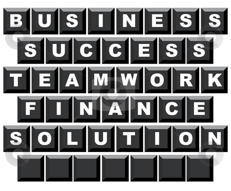 Business motivational keyboard stock photo, Business, success, teamwork, finance and solution spelled on computer keyboard with copy space, isolated on white background. by Martin Crowdy