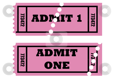 Admit one tickets stock photo, Illustration of two cinema or movie tickets saying admit one, isolated on white background. by Martin Crowdy