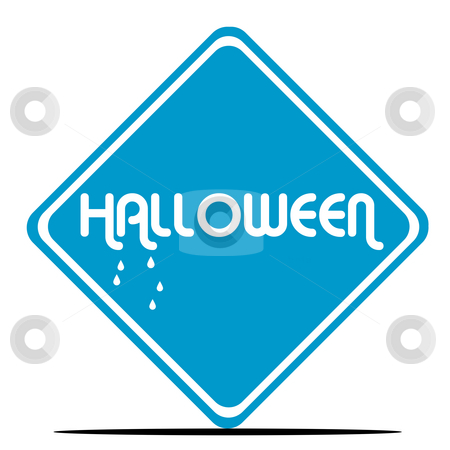Halloween sign stock photo, Halloween sign dripping blood in blue diamond shaped sign, isolated on white background. by Martin Crowdy