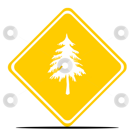 Christmas tree sign stock photo, Christmas tree road sign isolated on white background. by Martin Crowdy