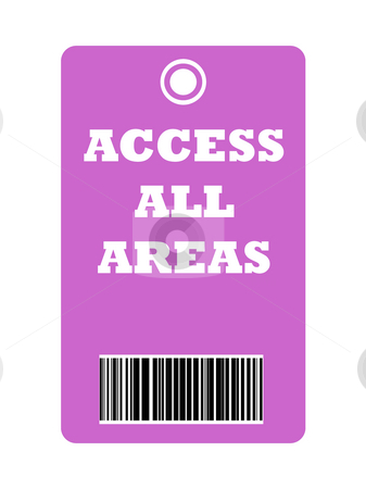 Access all area pass stock photo, Colorful access all areas pass isolated on white background. by Martin Crowdy