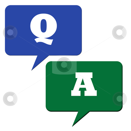 Questions and answers stock photo, Question and answer speech bubbles or avatars. by Martin Crowdy