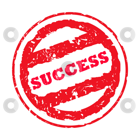 Success stamp stock photo, Used red success stamp isolated on white background. by Martin Crowdy