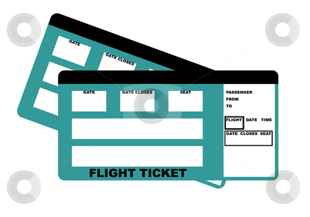 Flight Tickets stock photo, Illustration of two flight tickets, isolated on white background. by Martin Crowdy