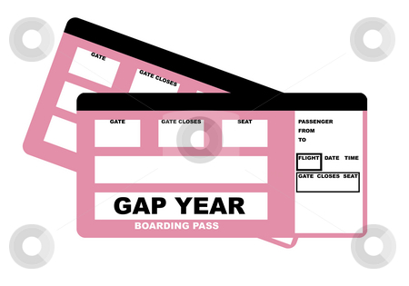 Gap Year flight tickets stock photo, Illustration of two student gap year flight tickets, isolated on white background. by Martin Crowdy