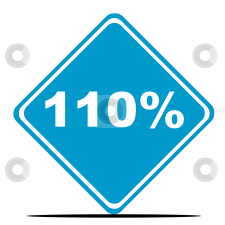 110 Percent sign stock photo, 110 percent sign isolated on white background. by Martin Crowdy