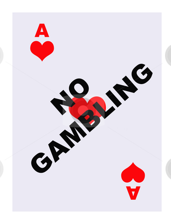 No Gambling card stock photo, No gambling superimposed on ace of hearts playing card, isolated on white background. by Martin Crowdy